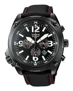 CASIO Collection MTF-E002L-1AVEF - Reloj de caballero de cuarzo, correa de piel color negro (con luz, cronómetro)