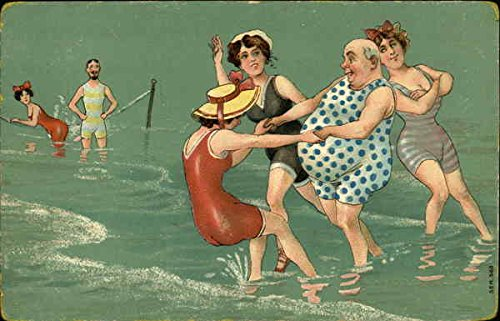 Three Ladies In Swimsuits Tease A Man in Polka-dot Swimsuit Swimsuits & Pinup Original Vintage Postcard