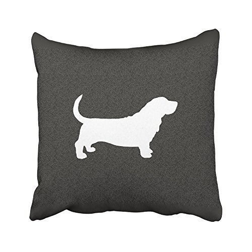 Acelive 20 X 20 Inches Throw Pillow Covers Basset Hound Dog Silhouette Black And White Lumbar Pillow Decor Cushion Decorative Pillowcases For Home Sofa Bedroom Couch Car