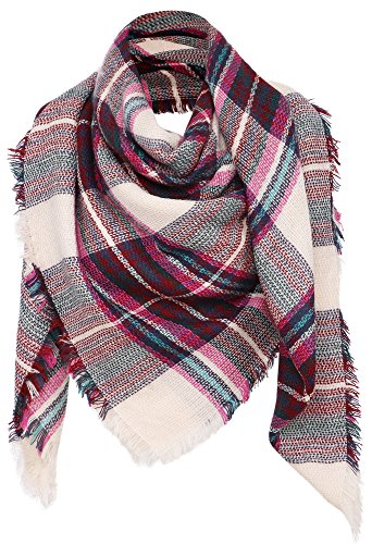 Double Dry Grid - Simplicity Women's Large Pashmina Plaid Fringe Scarf, Pink
