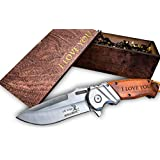 Engraved I Love You Pocket Knife and Wooden Box Gift Set - Great Gifts for Him, Boyfriend, Husband, Birthday, Anniversary, and More!