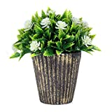 Fake Plant Bathroom/Home Decor, Small White Flower Plastic Artificial Faux Greenery House Decorations