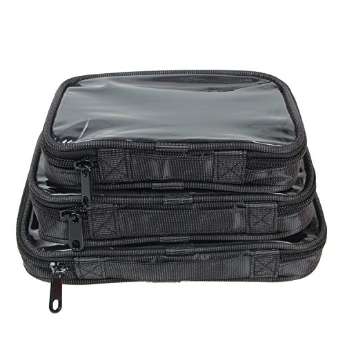 Damero Clear 3pcs/Set Travel Carrying Organizer,Portable Electronic Accessories Organizer,Cosmetic Bags,Packing Cubes Set, Black