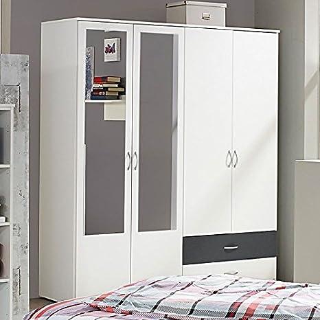 Kleiderschrank weiß / grau 4 Türen B 168 cm Schrank Drehtürenschrank ...