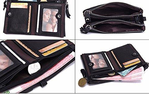 Modesty para hombre auténtica piel bifold Monedero doble cremallera bolsillo tipo cartera(Negro)- hd001