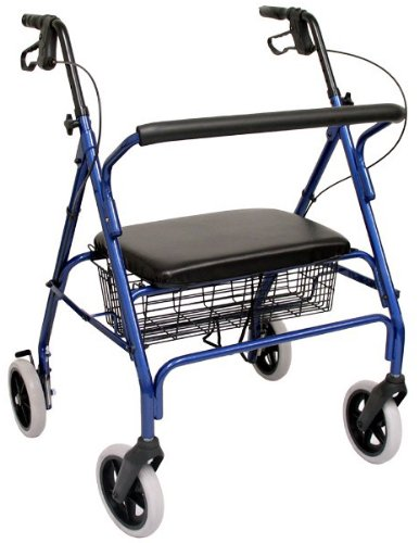 Karman Healthcare R-4700W-BL Extra Wide Steel Rollator, Blue, 8 Inches Heavy Duty Casters -