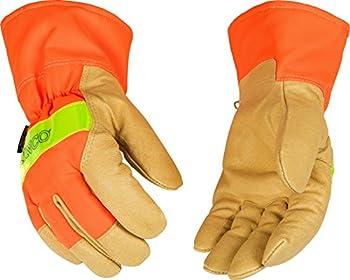 Kinco 1938-XL-1 Grain pigskin, Hi-Vis orange, 3M Scotchlite reflective knuckle, Lined safety cuff, Heatkeep thermal lining, Size: XL