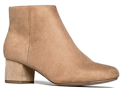 J. Adams Low Heel Ankle Boot - Casual Zip up Bootie - Comfortable Everyday Round Toe Bootie - Jody by Natural Suede*