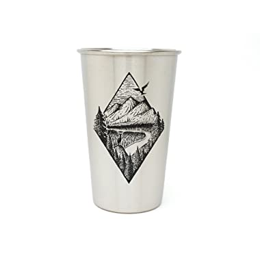 Stainless Steel Pint Glass - Mountains River Forest Illustration