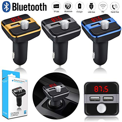 (Dirance Wireless Bluetooth Player MP3 Stereo Player FM Transmitter Radio LCD, Support USB Charging Call Handsfree (Gold))