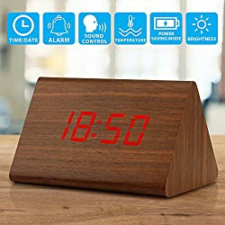 Oct17 Wooden Wood Clock, 2018 New Version LED Alarm Digital Desk Clock 3 Levels Adjustable Brightness, 3 Groups of Alarm Time, Displays Time Date Temperature - Brown (Red Light)