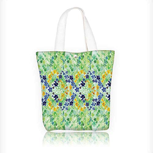 Canvas Tote Bag Interlace Japanese Garden Flowers Green Blue Hanbag Women Shoulder Bag Fashion Tote Bag W16.5xH14xD7 INCH