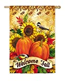 Evergreen Welcome Fall Sunflowers Suede House Flag, 29 x 43 inches For Sale