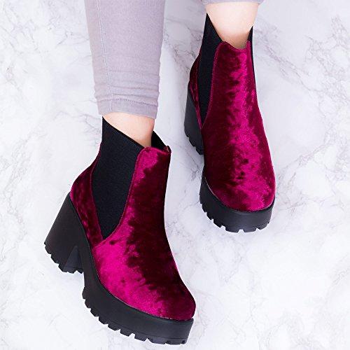 Style Heel Boots Spylovebuy Platform Red Block Pumps BGSPY Women's Ankle Velvet WAqZB