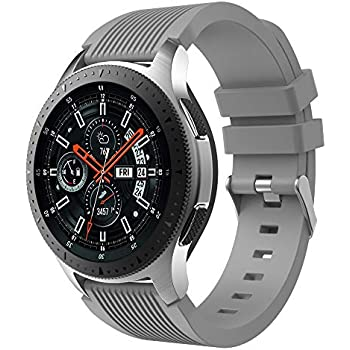 GOSETH Compatible with Samsung Galaxy (46mm),Watch Bands, 22mm Straight Stripe Silicone Wrist Strap Replacement Buckle Band for Samsung Galaxy ...