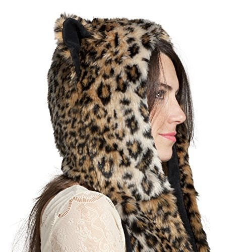 Leopard Full Animal Hood Hoddie Hat Faux Fur 3 In 1 Function - Leopard Hood