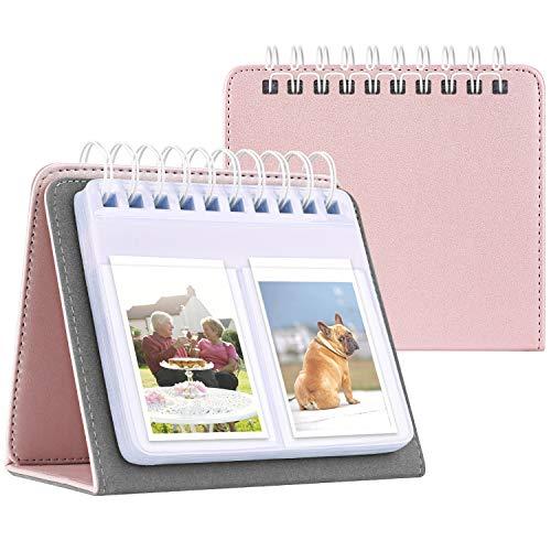 Fintie Calendar Photo Album for Fujifilm Instax, 64 Pockets Vegan Leather Photo Album for Fujifilm Mini 9 Mini 8+ Mini 90 Mini LiPlay, HP Sprocket, Kodak Mini, Polaroid Camera 3-Inch, Rose Gold