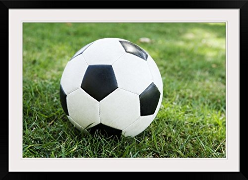GreatBIGCanvas ''Soccer Ball on Grass'' Photographic Print with black Frame, 36'' X 24'''' by greatBIGcanvas