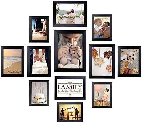 Homemaxs 12 Pack Picture Frames Collage Photo Frames Wall Gallery Kit for Wall and Home, One 8x10 in, Four 5x7 in, Five 4x6 in, Two 6x8 in, Black (5x7, 4x6,6x8)