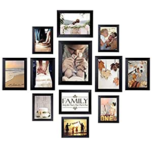 HOMEMAXS 12 Pack Picture Frames Collage Photo Frames Wall Gallery Kit for Wall and Home, One 8x10 in, Four 5x7 in, Five 4x6 in, Two 6x8 in, Black