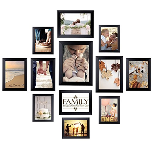 (Homemaxs 12 Pack Picture Frames Collage Photo Frames Wall Gallery Kit for Wall and Home, One 8x10 in, Four 5x7 in, Five 4x6 in, Two 6x8 in, Black)