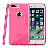 Kit Me Out CAN® Apple iPhone 7 Plus [Shock Absorbing] [Thin Fit] Premium S Line Wave TPU Gel Case Cover Skin Pouch - Pink