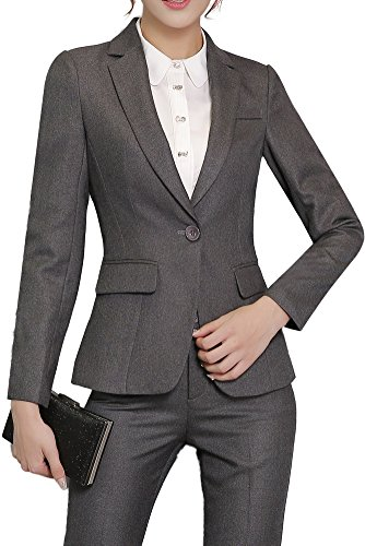 Vocni Women's Casual Work 2 Pieces Solid Color Slim Fit Business Office Blazer Jacket Skirt Pants Suit Set Gray(Blazer+Pants) US XL-Label 3XL (Suit Jackets For Women 2 Button)