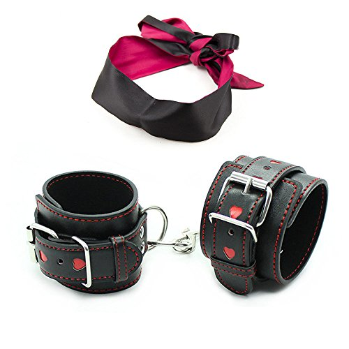 PU Leather Handcuffs for Women Men with Chain - Handcuffs Set with Soft Satin Blindfold Eye Mask - Adjustable Wrist Ankle Hand Cuffs Thigh