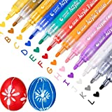 12 Colors Acrylic Paint Marker Pens, Maxdot Paint Pen Art Markers Set for Paper, Glass, Metal, Canvas, Wood, Ceramic, Fabric Painting, DIY Crafts (Pack of 12)
