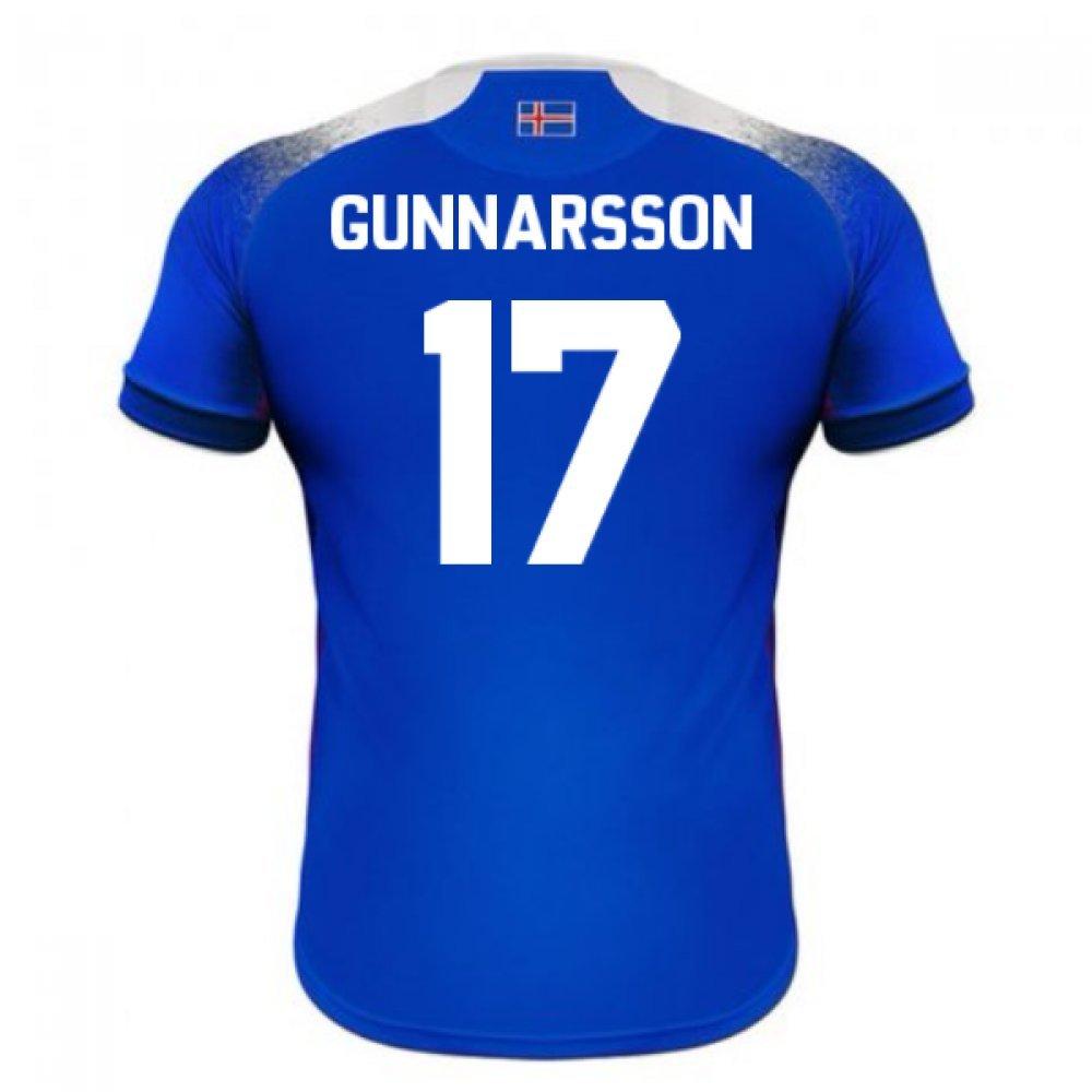 2018-2019 Iceland Home Errea Football Soccer T-Shirt Trikot (Aron Gunnarsson 17)