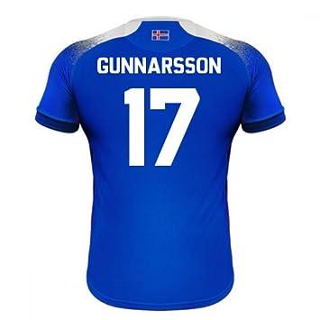 2018-2019 Iceland Home Errea Football Soccer T-Shirt Camiseta (Aron Gunnarsson 17