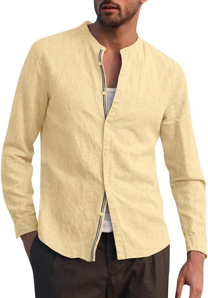 CAOQAO Blusa de Lino Holgada para Hombre Patchwork Color sólido Camisas con Cuello Alto y Manga Larga: Amazon.es: Ropa y accesorios