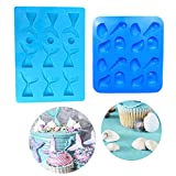 Seashell Silicone Fondant Mold Mermaid Tail Mold for Sea Creatures Beach Theme Wedding Birthday Party Cake Decoration Cupcake Topper (Set of 2)