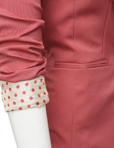 Doublju One Button Closure Blazer with Polka Dot Trim
