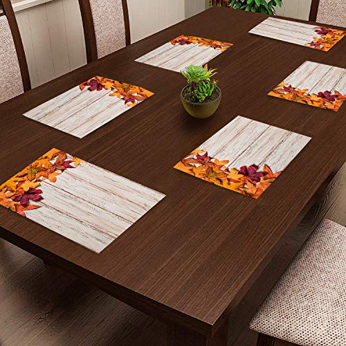 CASA-NEST PVC Printed Maple Placemats with Extra Coating for Dining Table and Kitchen (17 x11) inches of 6 Pieces ||Hot…
