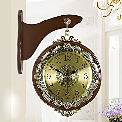 LIU Double Sided wall clock Home and Gift Wrought Iron Nostalgic Vintage-Inspired Train Railway Station style Round Iron Scroll Wall Mount, coffee