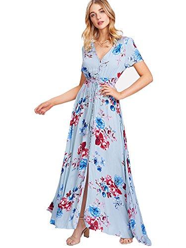 (Milumia Women's Button Up Split Floral Print Flowy Party Maxi Dress Large Multicolor-Blue )
