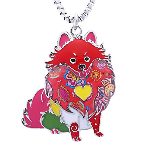 Pomeranian Pendant (Luckeyui Pomeranian Gifts for Dog Lovers Cute Pets Women Statement Necklace Jewelry for Mom Day)