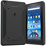 Fire 7 2015 Case, Poetic QuarterBack [Corner/Bumper Protection][Replaceable back][Dual protection]- Stylish PC+TPU Case for Amazon Fire 7 5th Gen (2015) Black/Black