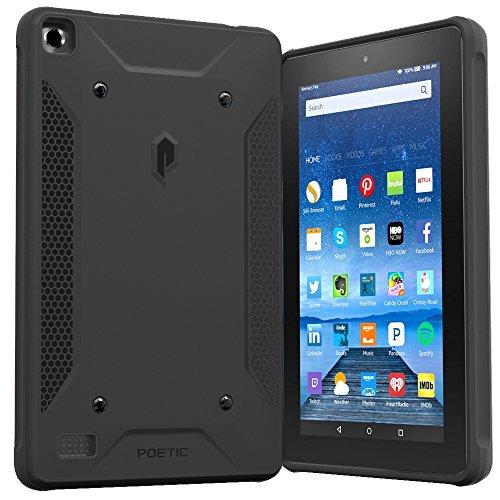 Fire 7 2015 Case, Poetic Quarterback [Corner/Bumper Protection][Replaceable Back][Dual Protection]- Stylish PC+TPU Case for Amazon Fire 7 5th Gen (2015) Black/Black