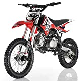 "125cc Adults Dirt Bike with 4-Speed Manual Transmission, Double Spare Frame! Kick Start, Big 17""/14"" Tires! Not Legal in California (Red)"