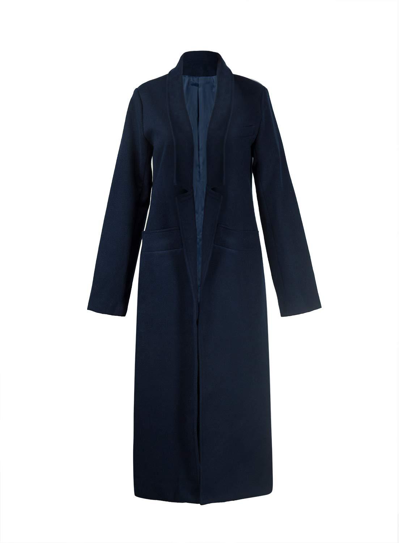 PERSUN Women's Classic Notch Lapel Long Sleeve Longline Coat