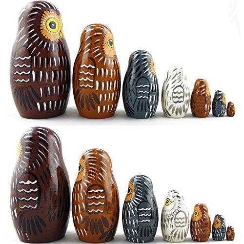 Owl Nesting Dolls - Owl Decor - Owl Gifts - Owl Toy - Matryoshka set 7 dolls by MATRYOSHKA&HANDICRAFT (Image #6)