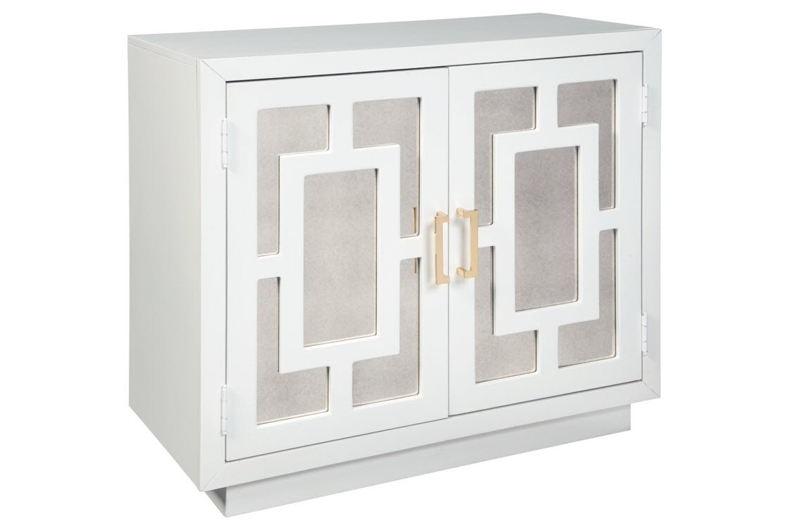 Ashley furniture signature design walentin 2 door accent cabinet contemporary white finish gold finished metal handles geometric pattern on mirror