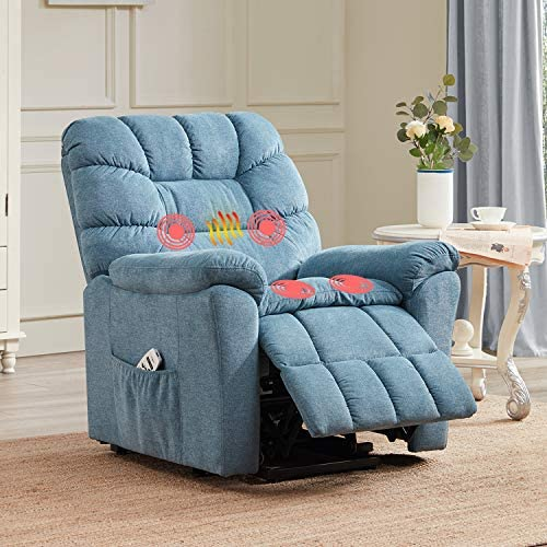 Power Lift Recliner with Massage Heated Vibration Electric Recliner Chair Massage Sofa Microfiber Fabric Living Room Chair with Side Pockets, USB Charge Port Remote Control