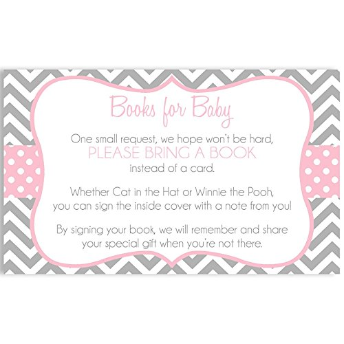 Stock Pink Ribbon - Simple Chevron, Bring A Book Cards, Baby Shower, Books for Baby, Chevron, Stripes, Polka Dots, Pink, Girl, Gray, Sprinkle, Baby's First Book, Baby Books, 25 Pack Printed Bring A Book Cards
