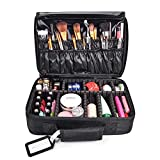 MelodySusie Travel Makeup Bag 3 Layers Makeup Organizer Case Makeup Train Case with Shoulder Strap for Women