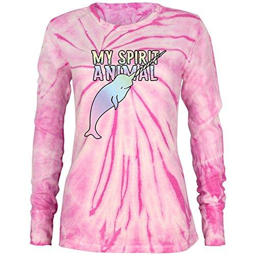 (My Spirit Animal Narwhal Unicorn Of The Sea Juniors Long Sleeve Thermal Pink Spiral Tie Dye SM)