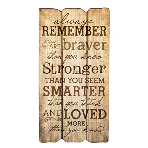 P. Graham Dunn Remember Stronger Braver Smarter 12 x 6 Small Fence Post Wood Look Decorative Sign Plaque (Home Signs Decor For)