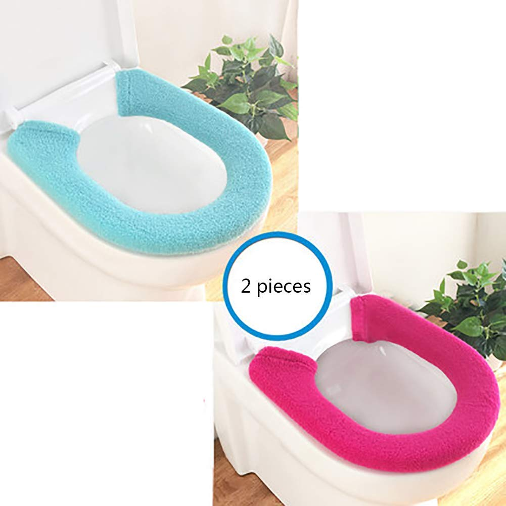 LanDream Toilet Cushion Thickened Toilet Seat Cushion 2 Pieces Button Type Solid Color Warm Washable Toilet Pad Universal (Color : S)